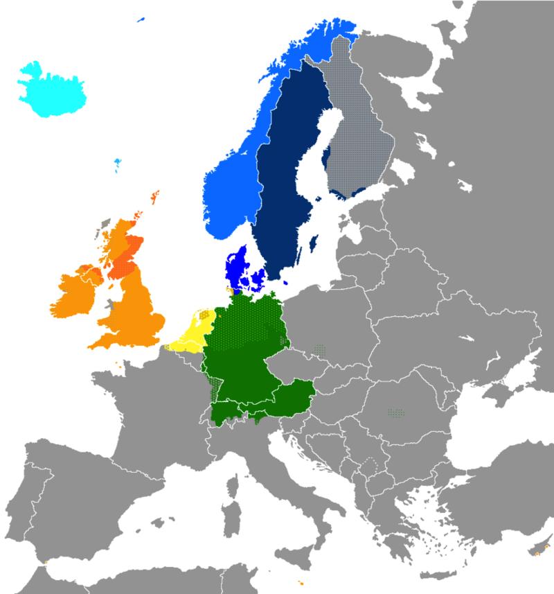 Germaaniset kielet Euroopassa. Hayden120, CC BY-SA 3.0 via Wikimedia Commons