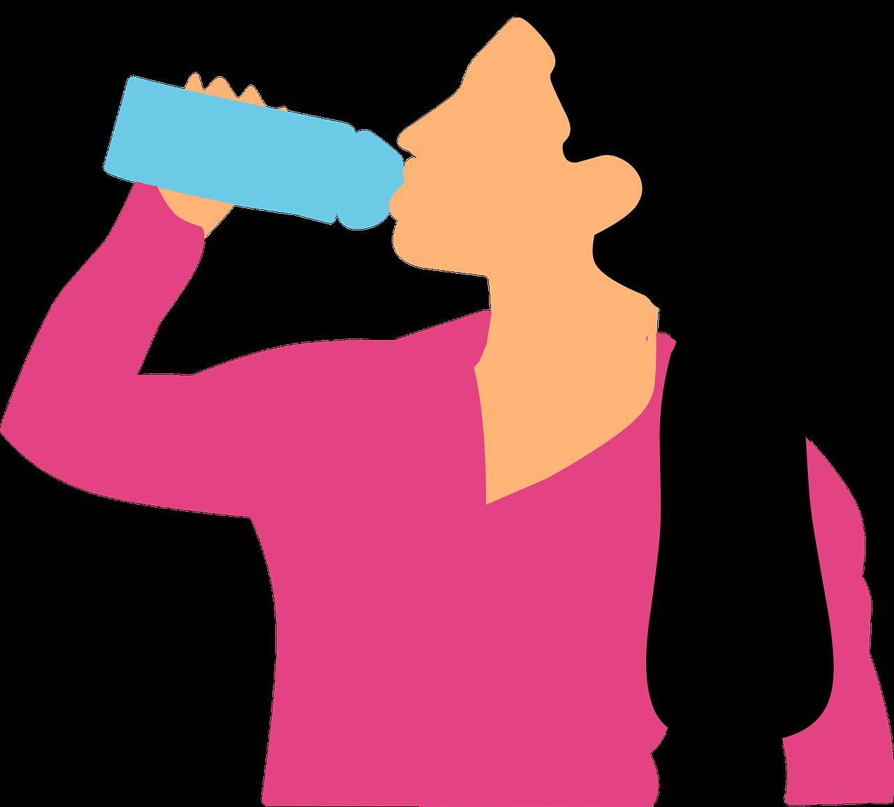 Nainen juo vettä. Pixabay.