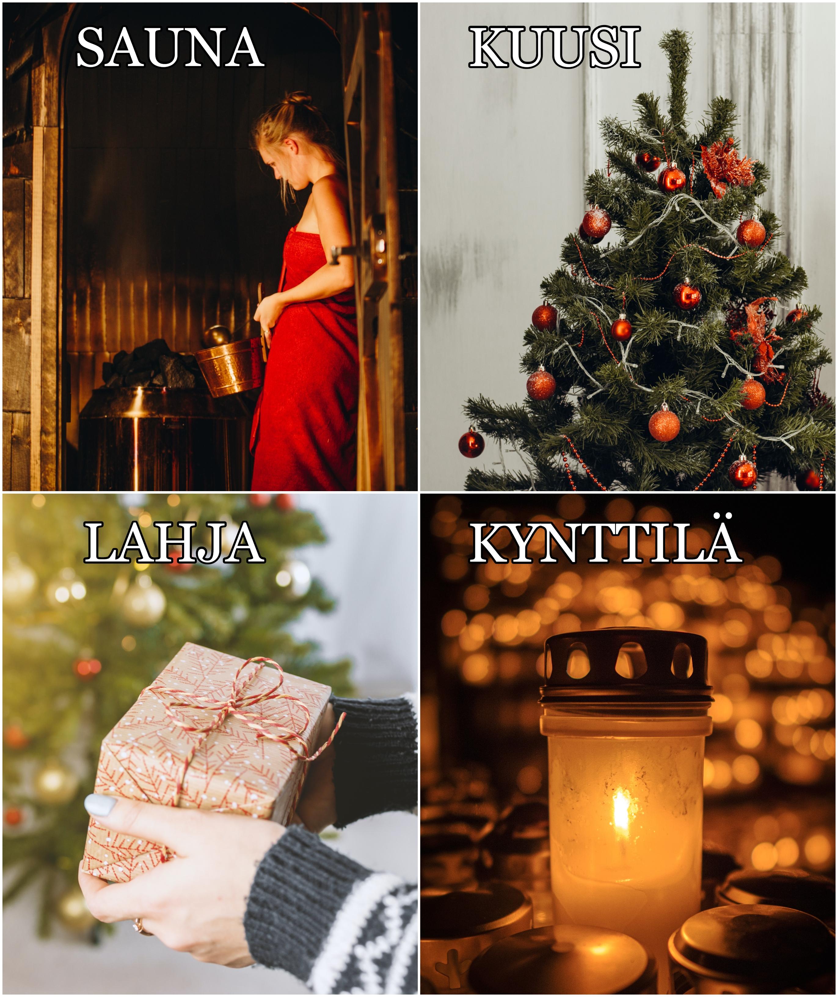 Sauna, kuusi, lahja: Unsplash. Kynttilä: Tuukka Lindholm.