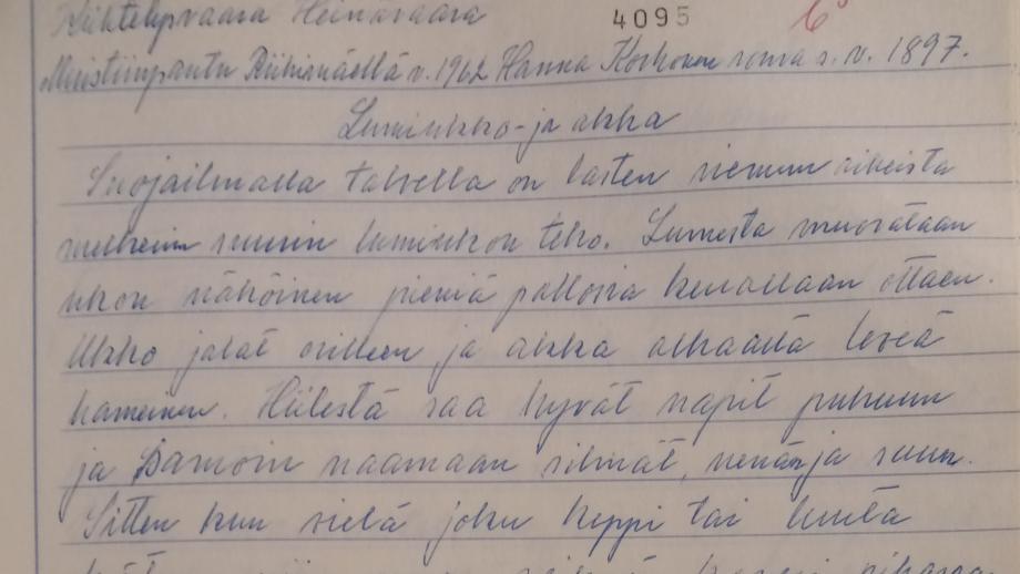 Lumileikkejä. Hanna Korhonen 1962. SKS KRA.