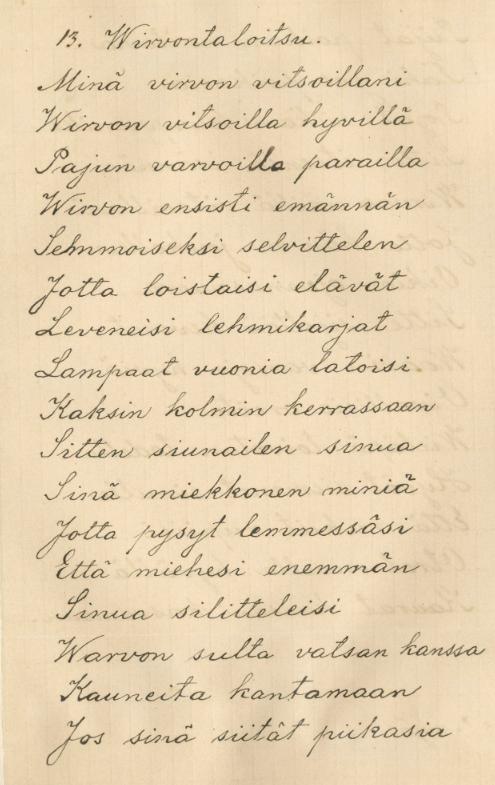 Virvontaloitsu. Kitee. Brander, G. A. VK 7:13. 1889.