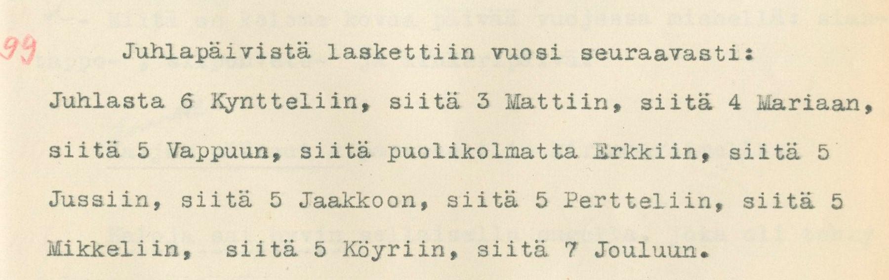 Juhlapäivistä laskettiin vuosi. Vimpeli. Eteläpohj. Osakunta VK 11:99. 1932.