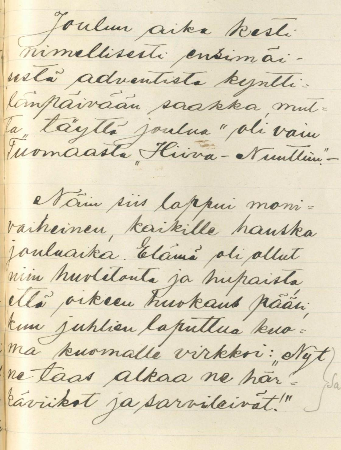 Joulun aika. Renko. Hammar, Hugo VK 13:1. 1911.