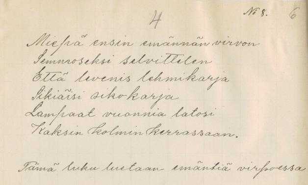 Emännän virpominen. Kitee. Holopainen, A. VK 20:4. 1903.